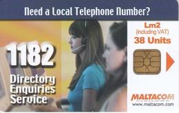 TARJETA DE MALTA DE TELEPHONE NUMBER 1182 - Malta