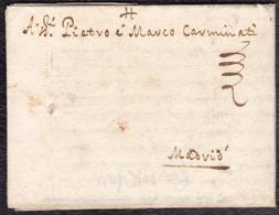 1655. MILÁN A MADRID. CARTA COMPLETA CON LACRE PERDIDO. INTERESANTE Y RARO CORREO DEL SIGLO XVII. - Italie