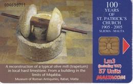 TARJETA DE MALTA DE 100 YEARS OF ST. PATRICK CHURCH- OLIVE MILL (RARA) - Malta