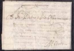 1669. GÉNOVA A MADRID. CARTA COMPLETA CON SELLO PLACADO EN SECO. INTERESANTE Y RARO CORREO DEL SIGLO XVII. - Italie