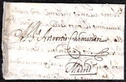 1674. BOLOÑA A MADRID. CARTA COMPLETA CON SELLO PERDIDO. INTERESANTE Y RARO CORREO DEL SIGLO XVII. - Italie