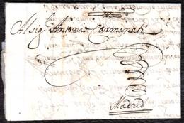 1685. NAPOLI A MADRID. CARTA COMPLETA CON SELLO PLACADO EN SECO. INTERESANTE Y RARO CORREO DEL SIGLO XVII. - Italie