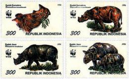 Ref. 75230 * NEW *  - INDONESIA . 1996. SUMATRAN AND JAVAN RHINOCEROS. RINOCERONTES DE SUMATRA Y DE JAVA - Indonesia