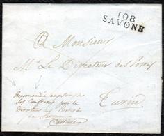 """1809. SAVONA A TURÍN. MARCA """"108/SAVONE"""" EN NEGRO Y ANOTACIÓN """"RECOMANDÉE"""". LACRE OFICIAL DE CORREOS. RARÍSIMA CARTA. - Italia"""