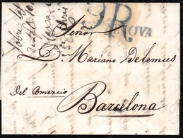 "1818. GÉNOVA A BARCELONA. MARCA LINEAL ""GENOVA"" EN NEGRO. PORTEO 9R REALES EN NEGRO. AL DORSO FECHADOR. MUY BONITA. - 1. ...-1850 Prefilatelia"