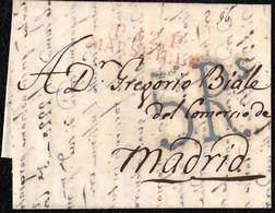 "1822. GÉNOVA A MADRID. MARCA ""P.12.P./MARSEILLE"" EN ROJO. PORTEO 5RS REALES EN NEGRO. MUY INTERESANTE CARTA. - Italia"