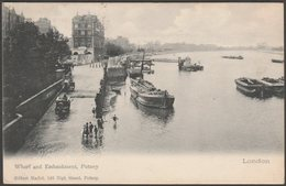 Wharf And Embankment, Putney, London, 1903 - Gilbert Marlet Postcard - London Suburbs