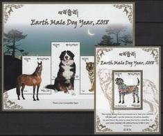 Bhutan (2018) - Set + Block -  /  Chinese New Year - Dog - Chien - Perro - Hunde - Chines. Neujahr