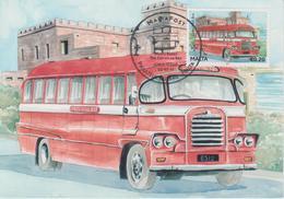 Malta Maximum Card 23 Mi 1672 Buses - The End Of An Era - Gozo Mail Bus - Malta