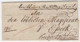 Austria Prephilately Letter Cover Travelled 1821 Wien To Eszek B180625 - Österreich