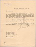 29 1942 - ACHILLE LAURO - Lettera Dattiloscritta Datata Napoli 7/10/1942 A Firma Di Achille Lauro, Arma... - Autographs