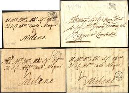 63 1761/68 - Tre Lettere Prefilateliche Da Casale A Milano, Tutte Con Bolli Di Pedoni Milanesi. Allegat... - Lombardy-Venetia