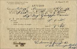 65 1851 - Avviso Di Arrivo Di Un Gruppo Contenente Argento Da Cremona 14/1/1851 A Verolanuova, Datario ... - Lombardy-Venetia