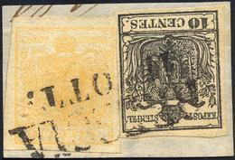 66 1850 - 5 Cent. Giallo Ocra, 10 Cent. Nero (1,2), Perfetti, Usati Su Piccolo Frammento A Brescia.... - Lombardy-Venetia