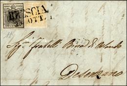 67 1857 - 5 Cent. Giallo Ocra, Un Angolo Intaccato, 10 Cent. Nero, Carta A Macchina, Perfetto, (1,2), S... - Lombardy-Venetia