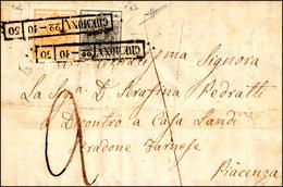 68 1850 - 5 Cent. Giallo Arancio E 10 Cent. Grigio Nero, Entrambi I Tiratura (1d,2b), Perfetti, Su Lett... - Lombardy-Venetia