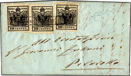 70 1855 - 10 Cent. Nero Intenso (2d), Un Esemplare Del I Sottotipo E Due Del II, Perfetti, Su Lettera D... - Lombardy-Venetia