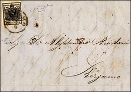 71 1856 - 10 Cent. Nero Intenso (2d), Bella Varietà Di Clichè, Perfetto, Isolato Su Lettera Da Bergamo ... - Lombardy-Venetia