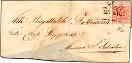 """72 1850 - 15 Cent. Rosso, I Tiratura (3a), Ritagliato """"lilliput"""", Su Sovracoperta Di Lettera, Senza Il ... - Lombardy-Venetia"""
