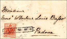 73 1850 - 15 Cent. Rosso Carminio, I Tipo Carta A Mano (3c), Perfetto, Su Sovracoperta Di Lettera Da Ve... - Lombardy-Venetia