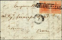 74 1851 - 15 Cent. Rosso Vermiglio, II Tipo, Carta A Mano, 15 Cent. Rosso Vermiglio, I Tipo, Carta A Co... - Lombardy-Venetia