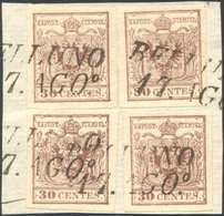 77 1854 - 30 Cent. Bruno Lillaceo, II Tipo, Carta A Mano (9), Quattro Esemplari Perfetti, Usati Su Fram... - Lombardy-Venetia