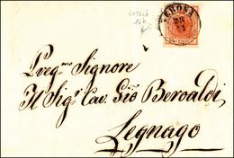 79 1851 - 15 Cent. Rosso Vermiglio Intenso, I Tipo, Carta A Coste Verticali (14b), Perfetto, Su Lettera... - Lombardy-Venetia