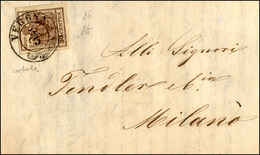 80 1852 - 30 Cent. Bruno Rossastro, Carta A Coste Verticali (16), Perfetto, Su Lettera Da Verona 5/3/18... - Lombardy-Venetia