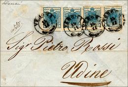 81 1851 - 45 Cent. Azzurro, Carta A Coste Verticali (17), Quattro Esemplari, Corti In Alto, Su Frontesp... - Lombardy-Venetia
