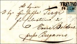 82 1863 - 45 Cent. Azzurro, I Tipo, Carta Costolata (17), Perfetto, Su Lettera Da Treviso 24/7/1853 A B... - Lombardy-Venetia