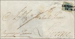83 1853 - 45 Cent. Azzurro Ardesia, Carta A Coste Verticali (17b), Perfetto, Su Sovracoperta Di Lettera... - Lombardy-Venetia