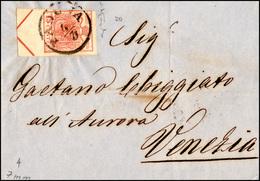 84 1854 - 15 Cent. Rosso Vermiglio, A Macchina (20), Ampio Principio Di Croce, 7 Mm, Leggermente Toccat... - Lombardy-Venetia