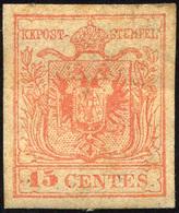 85 1854 - 15 Cent. Rosso, Carta A Macchina (20), Senza Gomma, Lievi Difetti.... - Lombardy-Venetia