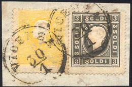 87 1858 - 2 Soldi Giallo E 3 Soldi Nero, Entrambi I Tipo (23,24), Perfetti, Usati Su Frammento A Vicenz... - Lombardy-Venetia