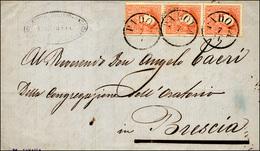 88 1858 - 5 Soldi Rosso, I Tipo (25), Striscia Di Tre, Perfetta, Su Lettera Da Padova 7/11/1858 A Bresc... - Lombardy-Venetia