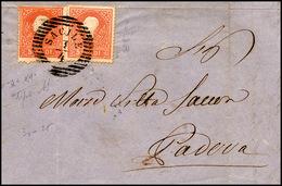 90 1859 - 5 Soldi Rosso, I Tipo, Perfetto E 5 Soldi, II Tipo, Lieve Piega, (25+39) Su Lettera Da Sacile... - Lombardy-Venetia