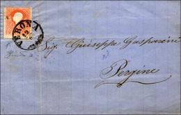 91 1861 - 5 Soldi Rosso, I Tipo (25), Stampa Evanescente In Basso, Su Sovracoperta Di Lettera , Senza L... - Lombardy-Venetia