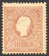 92 1858 - 10 Soldi Bruno, I Tipo (26), Perfetto, Gomma Originale. Enzo Diena. Cert. Oro Raybaudi.... - Lombardy-Venetia