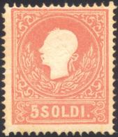 94 1859 - 5 Soldi Rosso, II Tipo (30), Varietà Di Clichè, Gomma Originale, Perfetto. Ferrario.... - Lombardy-Venetia
