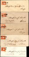 """96 1859 - 5 Soldi Rosso, II Tipo (30), 5 Esemplari, Tutti Ritagliati """"lilliput"""" Su Altrettante Buste Da... - Lombardy-Venetia"""