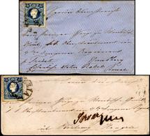98 1859 - 15 Soldi Azzurro (32), Due Esemplari, Perfetti, Su Altrettante Lettere Da Venezia Per L'Unghe... - Lombardy-Venetia