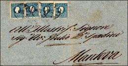 99 1859 - 15 Soldi Azzurro, II Tipo (32), Quattro Esemplari, Perfetti, Su Sovracoperta Di Lettera Da Pa... - Lombardy-Venetia
