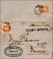 101 1861 - 5 Soldi Rosso E, Al Verso, 10 Soldi Bruno, II Tipo (33,31), Perfetti, Su Lettera Raccomandata... - Lombardy-Venetia