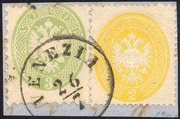 103 1864 - 2 Soldi Giallo, Dent. 14, E 3 Soldi Verde, Dent. 9 1/2 (36,42), Perfetti, Usati Su Frammento ... - Lombardy-Venetia
