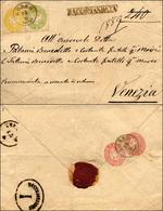 104 1863 - 2 Soldi Giallo, 3 Soldi Verde, Perfetti, 5 Soldi Rosa (36,42,43), Due Esemplari Al Verso, Per... - Lombardy-Venetia
