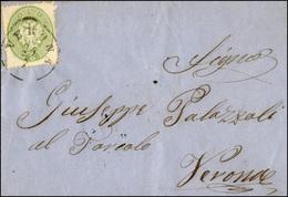 107 1864 - 3 Soldi Verde, Dent. 14 (37), Perfetto, Isolato Su Lettera Da Verona 24/7/1864 Per Città.... - Lombardy-Venetia