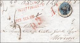 110 1863 - 10 Soldi Azzurro, Dent. 14 (39), Perfetto, Su Frontespizio Di Lettera Per Modena, Bolli Rossi... - Lombardy-Venetia