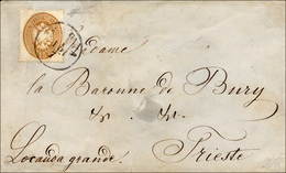 112 1863 - 15 Soldi Bruno, Dent. 14 (40), Perfetto, Isolato Su Busta Da Verona 15/7 A Trieste. Ferrario.... - Lombardy-Venetia