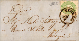 116 1864 - 3 Soldi Verde, Dent. 9 1/2 (42), Perfetto, Isolato Su Lettera Da Venezia 3/12 Per Città. Ferr... - Lombardy-Venetia