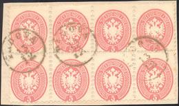 117 1864 - 5 Soldi Rosa, Dent. 9 1/2 (43), Eccezionale Blocco Di Otto Usato A Padova Su Frammento, Perfe... - Lombardy-Venetia